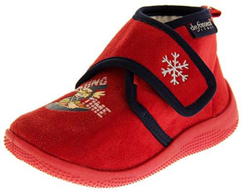 De fonseca bambino fissaggio in velcro pantofole stivali, red, eu 30