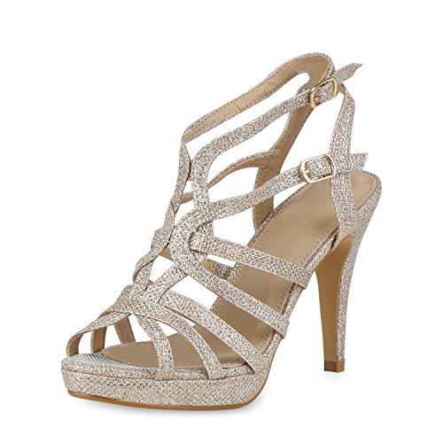 SCARPE VITA Damen Plateau Sandaletten Stiletto High Heels Glitzer Party Schuhe 158323 Gold 37 (Heels Stiletto Heel High)