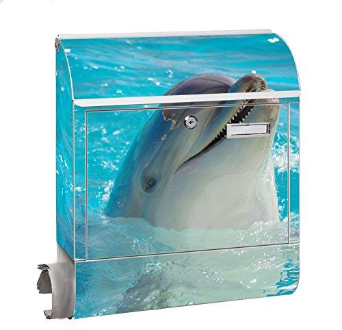 Design Motiv Briefkasten Maxi mit Zeitungsfach Zeitungsrolle für A4 Post slk shop Groß Delfin