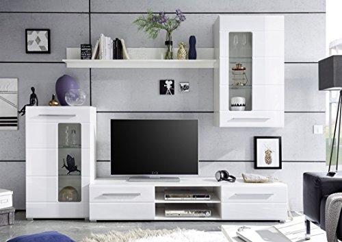Wohnwand Holzdekor Weiss