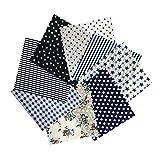 Tianhao katoenen stof, 50 x 50 cm, patchwork-naaien, kleding, handwerk, 8 stuks, 3 kleuren Donkerblauw
