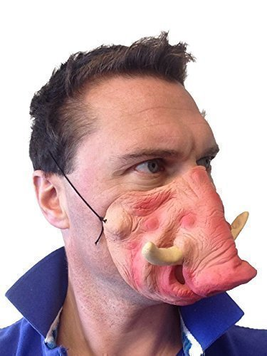 Lustig Halbes Gesicht Warthog Latex Maske Schwein Animal Kostüm Junggesellenabschied ()