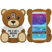 Samsung Galaxy Note 4 Silicona Gel Funda Case Moda 3D Oso Juguete marrón Apariencia A prueba de choques Caja protectora