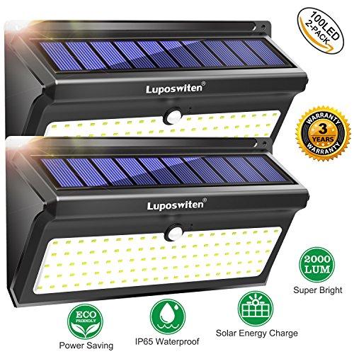100 LED Foco Solar,Luposwiten Lampara Solar Exterio con Sensor de Movimiento Luces Solares para Jadines, Patios, Cercados, Caminerías,Garaje,Balcone Lámparas de Pared Inalámbrica Luz Solares de Seguridad-2 Paquetes