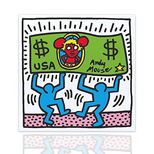 Quadro tributo Andy Mouse by Keith Haring - Arredo Moderno Pop Art Telaio in Legno Pronto da appendere Design - Colorscrazy