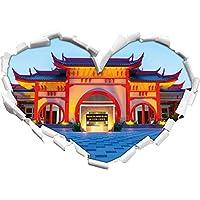 Cinese a forma di cuore tempio in formato adesivo aspetto, parete o una porta 3D: 92x64.5cm, autoadesivi della parete, decalcomanie della parete, Wanddekoratio - Design Inchiostro Cinese