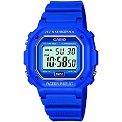 Casio Men's Quartz Watch with Grey Dial Digital Display and Blue Resin Strap F-108WH-2AEF