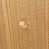 Godagoda Perlen Fadenvorhang Wandvorhang Balkonvorhang Türvorhang Fliegenschutz Fadengardine Raumteiler mit Kristallquaste 100x200cm Hellbraun