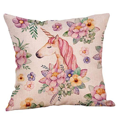 Aisoway Linda del Unicornio de Flores Cojines Tirar Almohada de algodón de Lino Fundas de Almohada