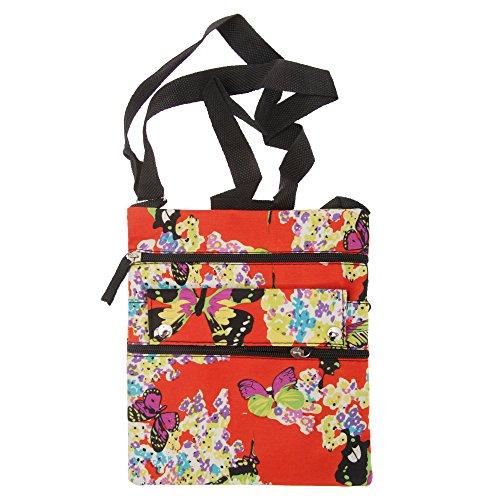 Damen Schultertasche mit Blumen/Schmetterling Muster Orange