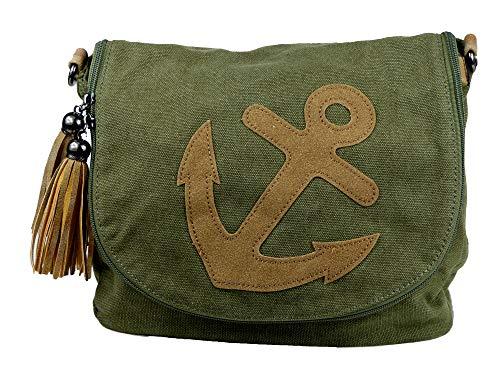 yourlifeyourstyle Damen Canvas Tasche aufgenähte Patches Anker 2 Troddeln - Umhängetasche - Vintage Look (Anker grün) -