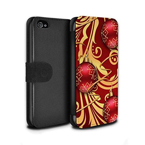 Stuff4 Coque/Etui/Housse Cuir PU Case/Cover pour Apple iPhone 4/4S / Boules/Or Design / Décoration Noël Collection Boules/Tourbillon
