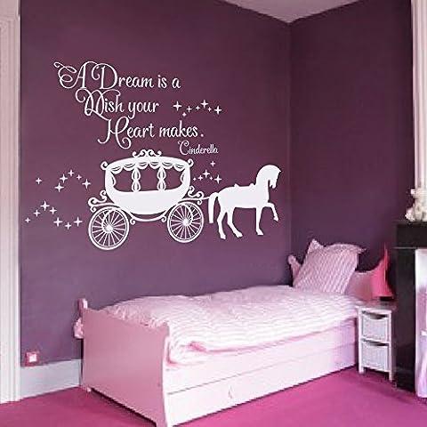 Adhesivo decorativo para pared Decor Cenicienta cita–un sueño es un deseo tu corazón hace que para pared con carruaje de princesa para Niñas Guardería Bebé Regalo Niños de vinilo (marrón, 30