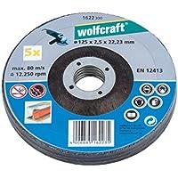 Wolfcraft 1622300-5 discos de cortar para amoladora para metal, cubo deportado Ø 125 x 2,5 x 22,23 mm