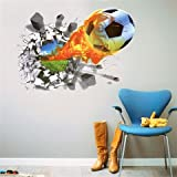 3D Wandsticker Fussball Wandtattoo Wandbilder Aufkleber selbstklebend