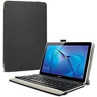 Huawei Mediapad T3 10 Teclado Funda, Infiland Ultra fino Slim Keyboard Case con Magnético Desmontable Teclado Bluetooth Inalámbrico para Huawei Mediapad T3 10 Tablet (Negro)