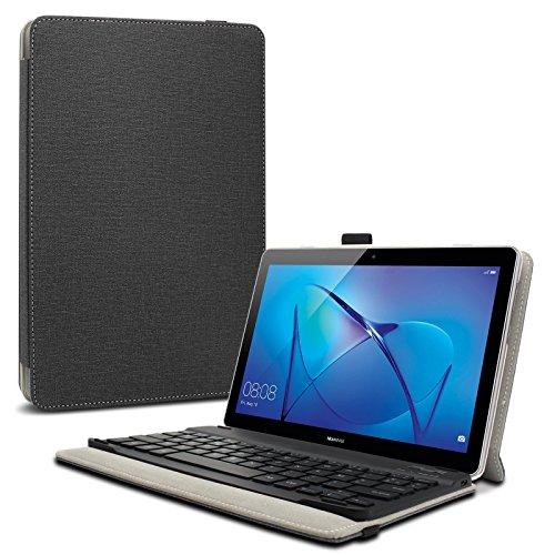 10 Tastatur Tablets Mit (Huawei MediaPad T3 10 Tastatur Hülle, Infiland Bluetooth Tastatur Ultradünn leicht Ständer Schutzhülle mit magnetisch abnehmbar drahtloser Bluetooth Tastatur für HUAWEI MediaPad T3 24,3 cm (9,6 Zoll) Tablet-PC(QWERTZ Tastatur,Schwarz))