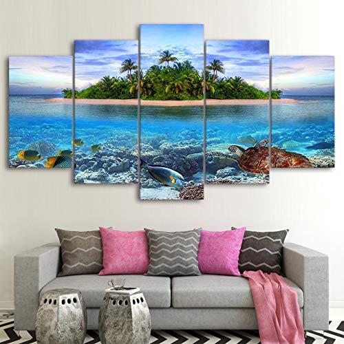 kxdrfz Leinwand Gemälde Wandkunst 5 Stücke Unterwasserwelt Tropische Insel Bilder HD Druckt Meeresschildkröte Fisch Palm Trees Poster Home Decor-Frame