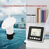 Gugutogo Sensor inalámbrico ultrasónico del medidor de nivel de la profundidad del tanque de agua con la exhibición de la temperatura con 3,3 pulgadas de pantalla LEDBlanco negro