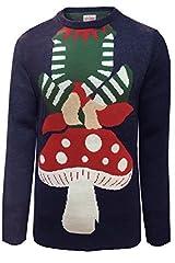 Idea Regalo - Threadbare Pullover lavorato a maglia, tema: natalizio, per adulti Helper Xmas - Navy Taglia-S-91 cm- 97 cm petto