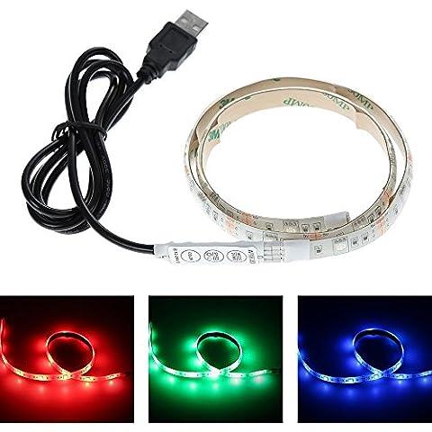 Oobest Strisce LED RGB Impermeabile USB Kit 15Leds 5050 SMD 0.5M + Mini Remote Control + 5A Adattatore, multicolore