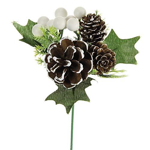 STEFANAZZI 12 Pezzi Lunghezza 20 cm Diametro 10 cm Pick Natalizio Bianco per Natale Fai da Te Decorazioni per Albero di Natale Rami Decorativi per Ghirlanda centrotavola