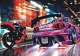 1art1 93866 Autos - Straßenrennen Bei Nacht, 4-Teilig Fototapete Poster-Tapete 360 x 255 cm