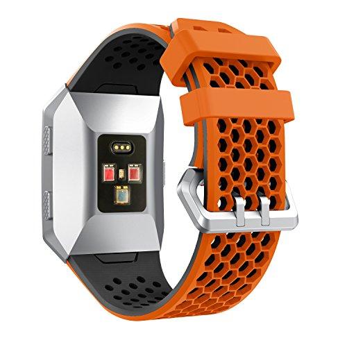YuStar Ersatzarmband für Fitbit Ionic Gesundheits- und Fitness-Smartwatch, Lochdesign, atmungsaktives Silikonarmband.  M Orange & Black