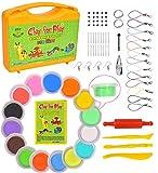 KRAFTZLAB 65 Stück Set Lufthärtende Modelliermasse - 15 Farben zum Formen von magischem Ton - Ideales Modellieren von Tongeschenken für Kinder