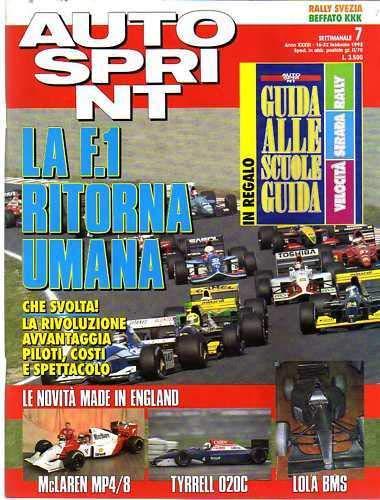 Autosprint Auto Sprint 7 Febbraio 1993 Pregliasco Zanardi Senna Inserto