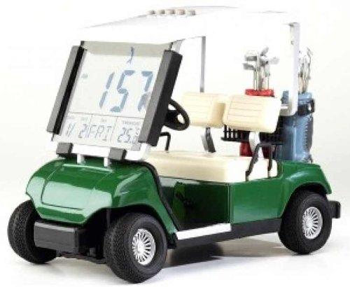 CEBEGO LCD Golfuhr als Golfcart, viele Funktionen mit Golf Kühlschrankmagnet,Golfgeschenk Mini Golfcart Desktop Golfer -