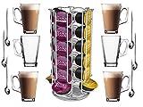 fineway @ New tournant rotatif 24capsules café Pod support pour tour Support pour Dolce Gusto avec Lot de 6verres à café latte avec cuillères à latte longues 6
