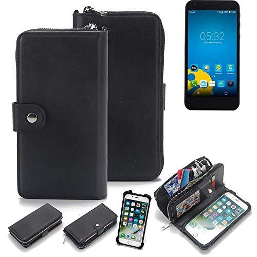 K-S-Trade 2in1 Handyhülle für Vestel 5000 Dual-SIM Schutzhülle & Portemonnee Schutzhülle Tasche Handytasche Case Etui Geldbörse Wallet Bookstyle Hülle schwarz (1x)