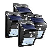 LEDMO 4-Pack Luz Solar LED, 16 LED Lámpara Solar LED, blanco 6000K PIR Sensor de movimiento y sensor ligero Super brillante Energía solar impermeable Luz de solar LED con modos inteligentes para la pared al aire libre, jardín, cerca, patio, camino, cubierta, yarda, calzada, escaleras