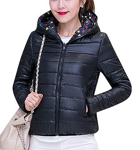 Manteau Femme Jacket Court Veste À Capuche Chaud Doudoune Blouson Parka Noir M