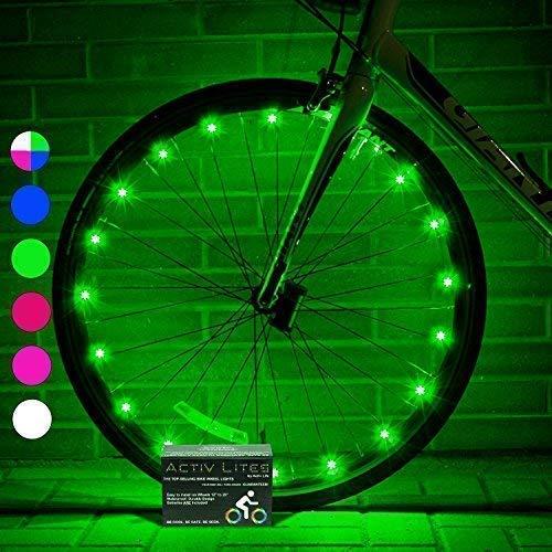 Luces LED Activ Life para Ruedas de bicis (Set de 2 Verde). Aporte Seguridad y originalidad a Sus radios. Complemento Ideal para cochecitos y sillas de Ruedas para Hombres, Mujeres y niños.