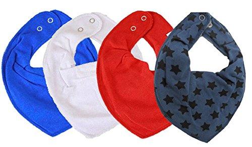 t Jungen Mädchen Baby Kinder HALSTUCH grau blau schwarz ★ + GRATIS 1 Bestseller Dreieckstuch Sterne ~ Pack mit 4 Stück (Paris & Blue Stars) (Paris Baby)