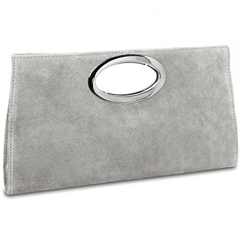 CASPAR TL699 große Damen XXL Wildleder Clutch Tasche Handtasche Abendtasche Ledertasche, Farbe:hell grau