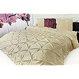 3D Biesen Design Modern Bettüberwurf Tagesdecke XL 220x240cm Überwurfdecke Farbe: GELB