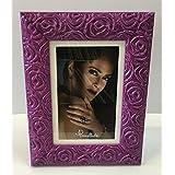Maxi-cornice portafoto rettangolare,rose viola,cm32x42