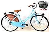 """CSM Bicicletta 26″ Donna/Uomo Olanda"""" Senza Cambio in Acciaio/Colore Azzurro + Cestino Incluso"""
