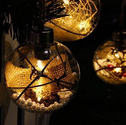 UChic 4 STÜCKE 8 CM Klar PVC Weihnachten Neue Lichter mit Transparent Weihnachten Glow Licht Dekoration Ball Hochzeit Geburtstag Party Dekorationen Festliche Geschenk weihnachtsbaum ornament (Light Blue-stripe-team)