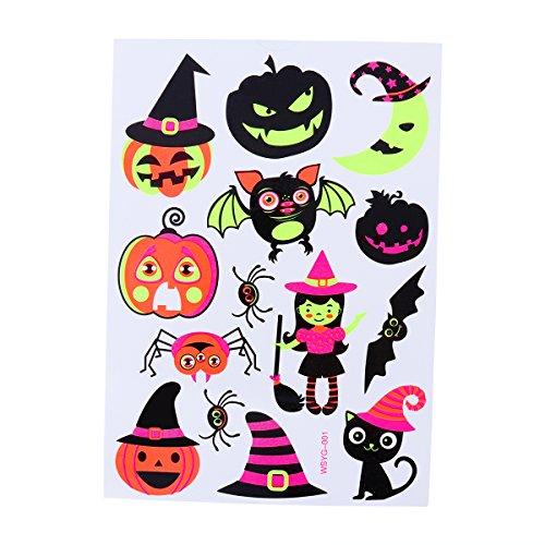 BESTOYARD temporäre Tattoos Halloween Make-up für Jungen und Mädchen Fluoreszierend Kürbis Geist und Fledermaus Kunst Tattoos Kreative Aufkleber (037)