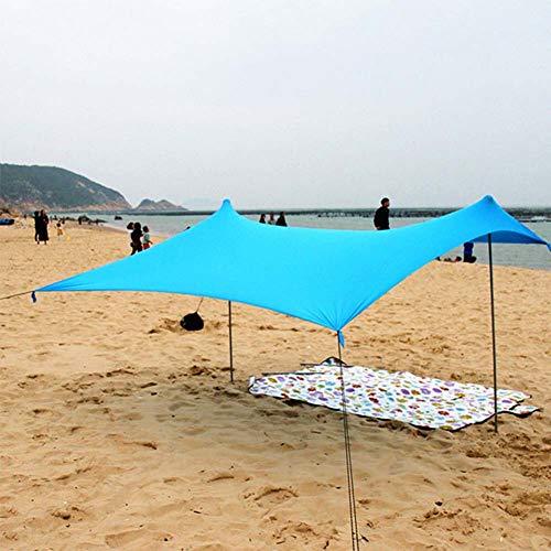 METTE Tienda de campaña con Ancla de Arena - 100% Lycra Sombrilla Sombrilla Sombrilla UPF50+ Protección Anti UV Protector Solar 2.1m x 2.1m x 1.65m, Fácil de Llevar, Blue