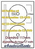 40CD/DVD Etichette autoadesive & # x20AC; 6,99–20fogli A4, per stampanti laser, a getto d' inchiostro, fotocopiatrice.