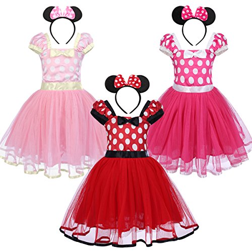 shopMatrix - Infant Baby Toddlers Girls Christmas Polka Dots Leotard Birthday Princess Bowknot Tutu Dress Xmas Cosplay Pageant Cute Mouse Dress up Halloween Fancy Costume Party Outfits with Headband 0-8 Years