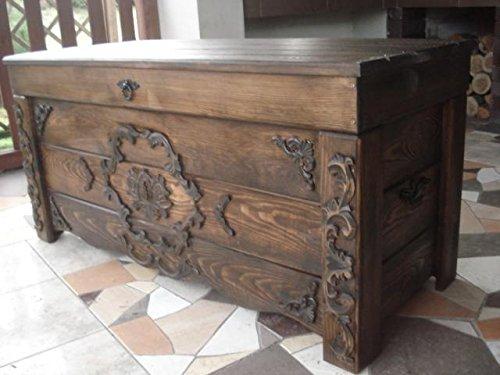 Massive handgemachte Holzkiste Truhe Box Holz Aufbewahrung Antik Dekoration JUL5