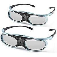 3D Glasses,APEMAN Lunettes 3D Série DLP Design Léger Rechargeable 3D Glasses VR Luminance et Contraste Violente Compatible avec tous les Vidéoprojecteurs DLP 3D (2 Paires)