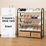 UYEdecor Estante de Zapatos Fácil Montado Luz Plástico Multilayer Zapato Estante Organizador de Almacenamiento Soporte Soporte Muebles de Sala Muebles Zapato Gabinete L 5layers Black
