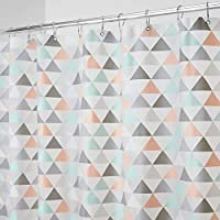 mDesign Cortina de baño con diseño de triángulos – Cortinas de ducha con medidas 183 cm x 183 cm – Cortina de ducha con 12 ojales metálicos – Durables, antimoho y sin PVC – coral/menta
